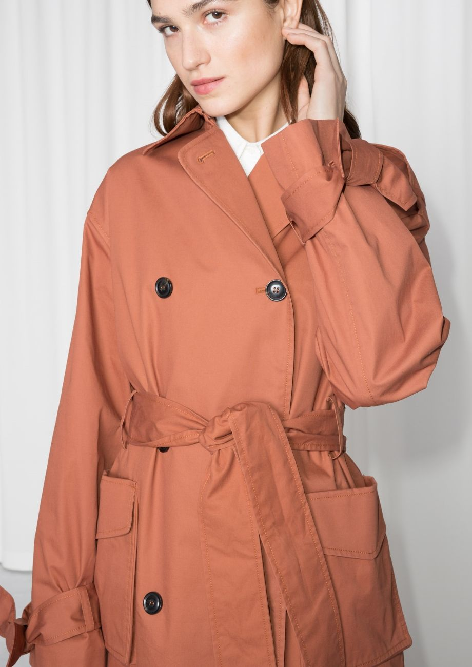 f1c6e90c5fe Other Stories image 4 of Belted Oversized Trenchcoat in Rust ...