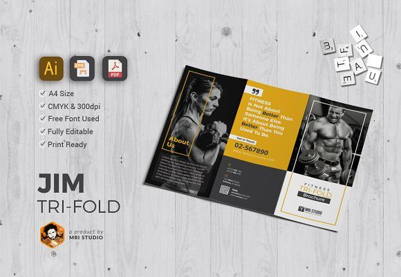 GYM Tri-Fold Brochure Templates More Brochure template, Tri fold - Gym Brochure Templates