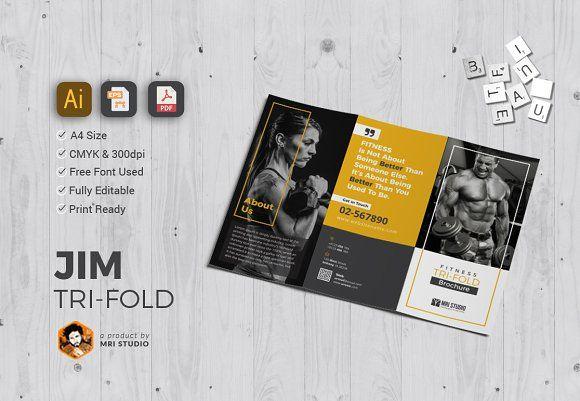 GYM Tri-Fold Brochure Templates Brochure template, Tri fold