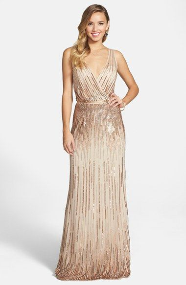 Women's Adrianna Papell Beaded Surplice Gown