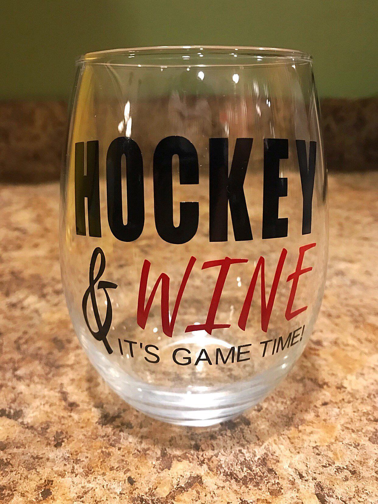 Hockey And Wine It S Game Time Stemless Wine Glass W Decorative