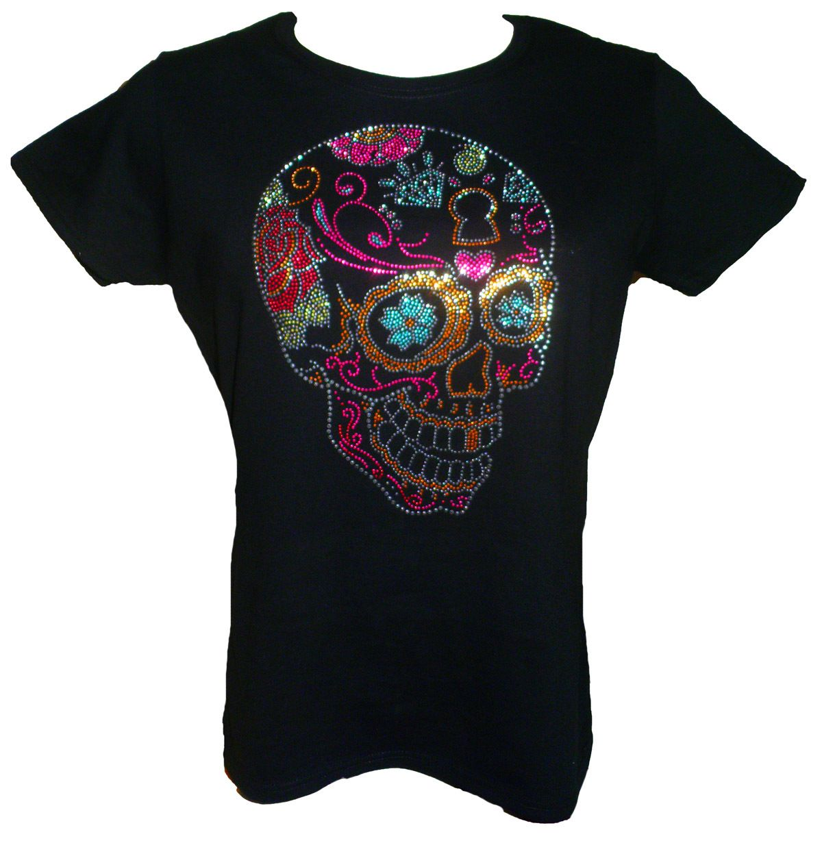 Day Of The Dead Sugar Skull Rhinestone T Shirt Pinterest Sugar