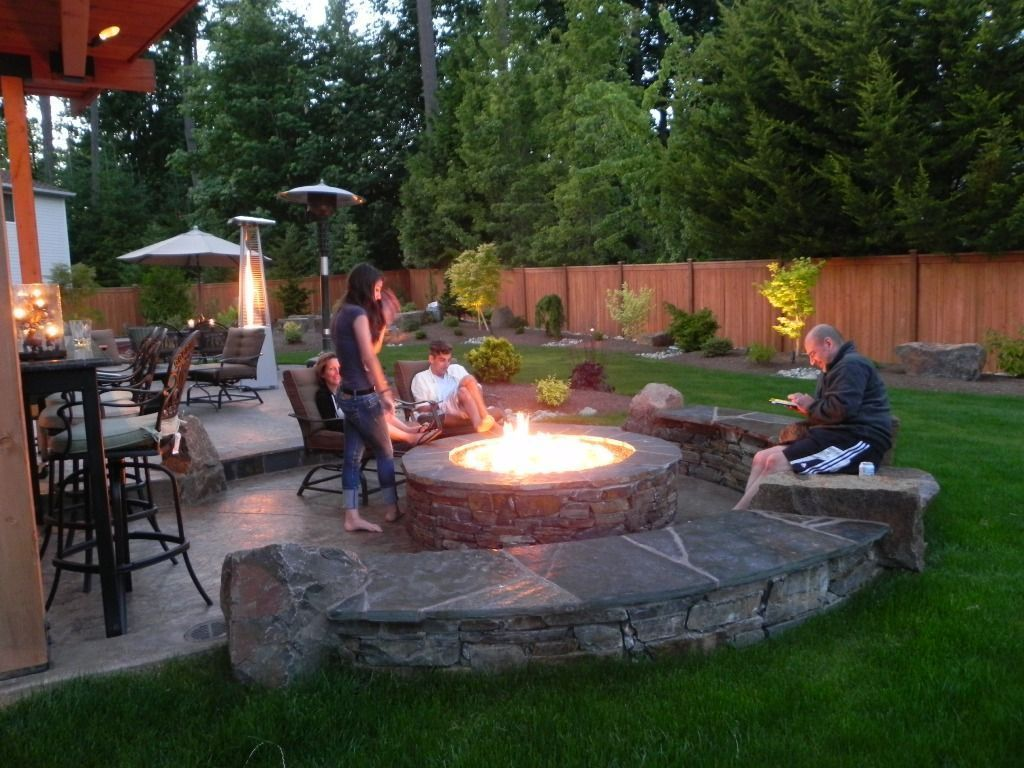 Fire pit simple outdoor fire pit ideas backyard black sandstone tiles stamped concrete limestone curved