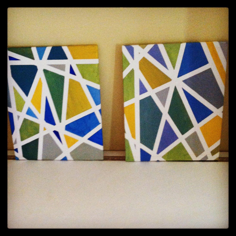 Canvas Masking Tape And Acrylic Paint Acrylic Painting Diy Diy Painting Acrylic Painting