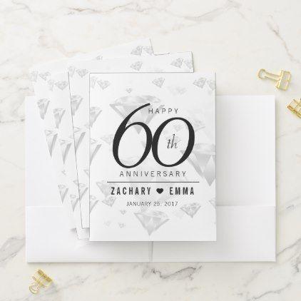 Elegant 60th Diamond Wedding Anniversary Pocket Folder
