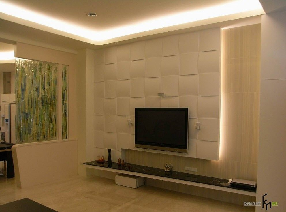 fascinating wall mount tv design in living room with led lighting behind white art wall tv - Tv Wall Panels Designs