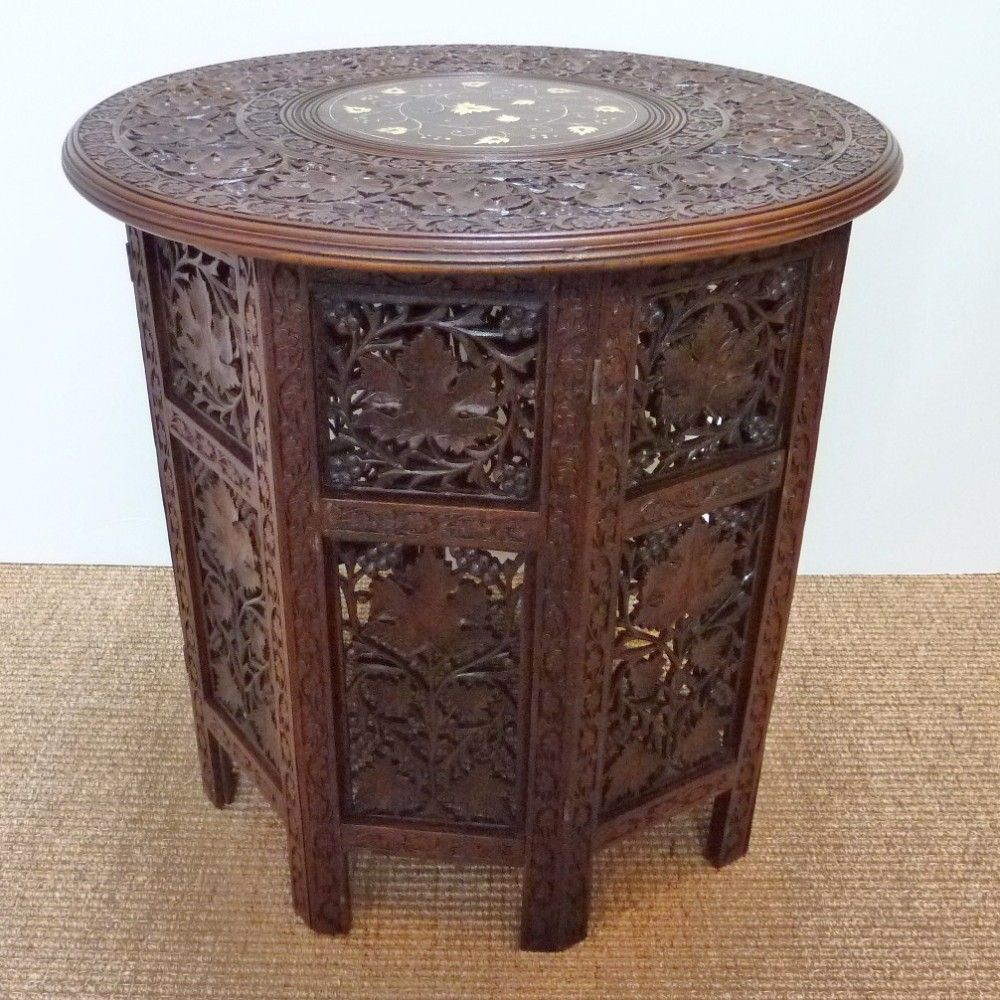 Furniture - ANTIQUE ASIAN FURNITURE: ANTIQUE CHINESE CARVED FOLDING TABLE FROM