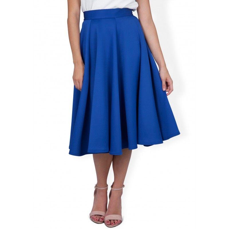 Closet Blue Midi Scuba Skirt