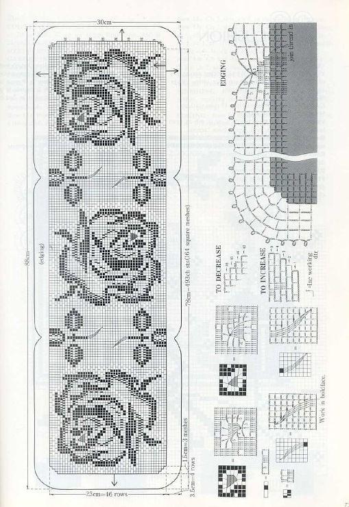 roses runner filet work diagram only bordl bere bordduge rh pinterest com Pinterest Home Custom Pin On Pinterest