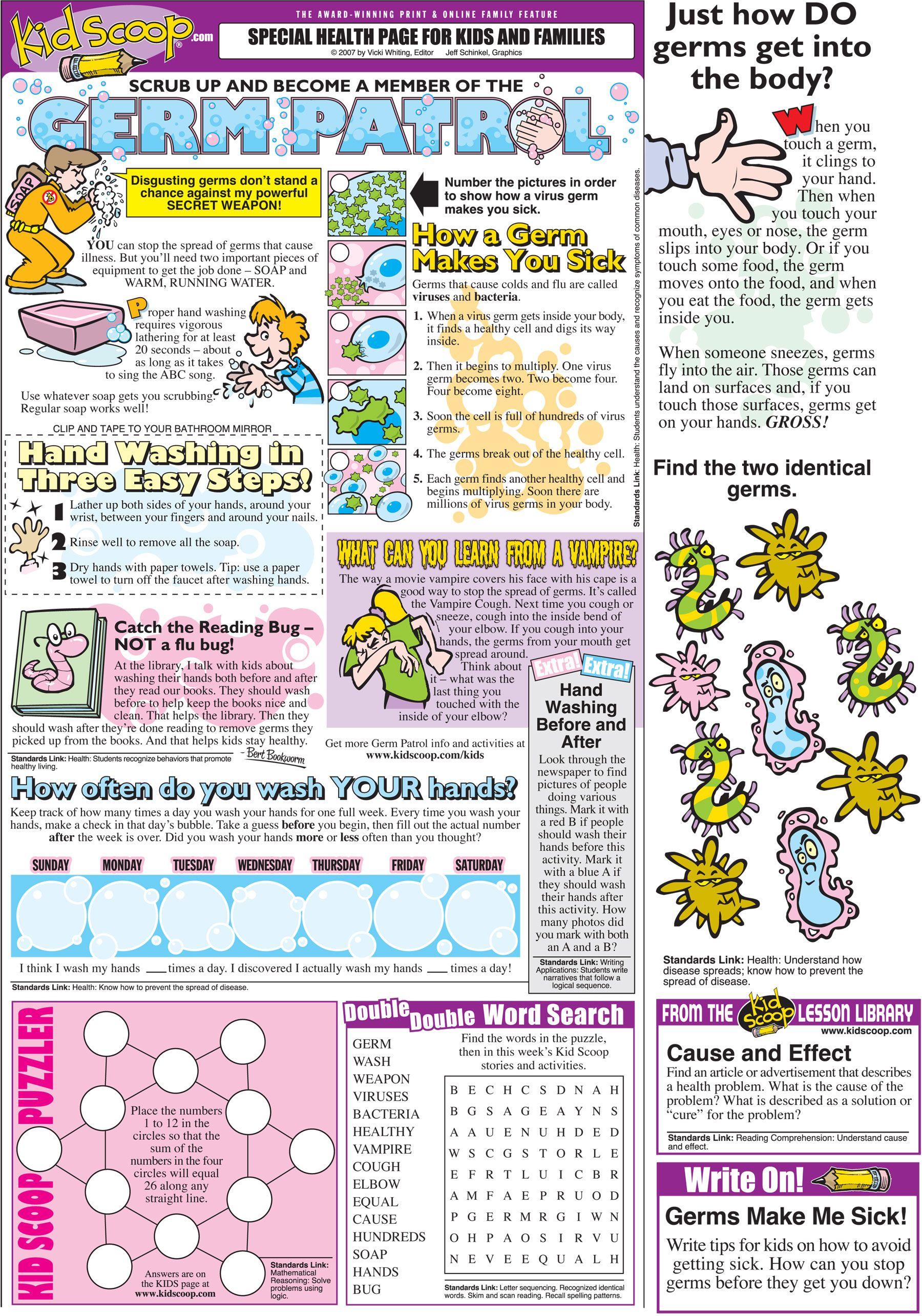 Free Germ Patrol Resource From Kid Scoop