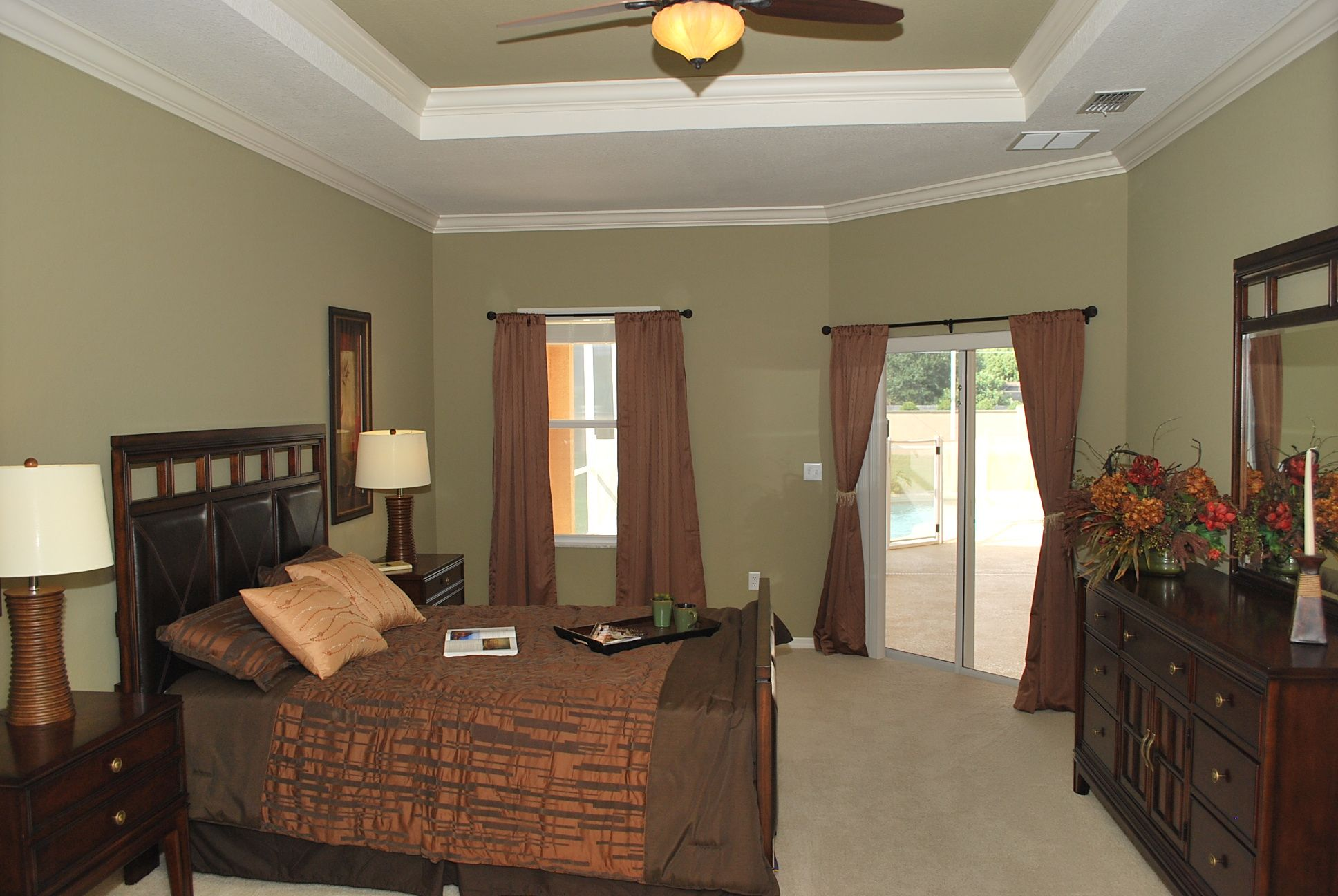Earth Tones Are A Time Honored Color Scheme And This Sage Green Wall Color Is Calming In A Bedroom Highland Home Green Wall Color Sage Green Walls Wall Color
