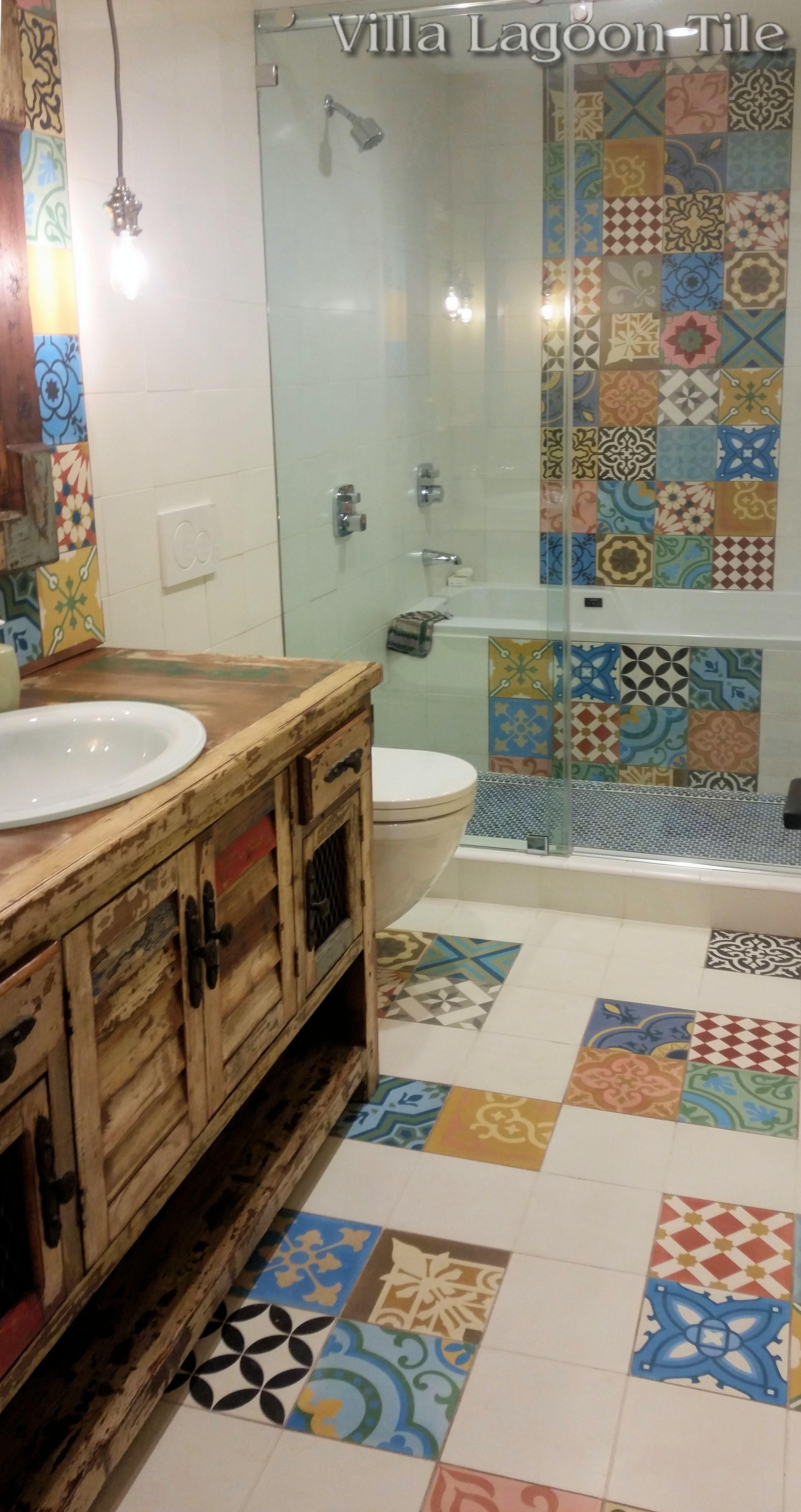 Patchwork cement tile bathroom floor installation from - Tile installation bathroom floor ...