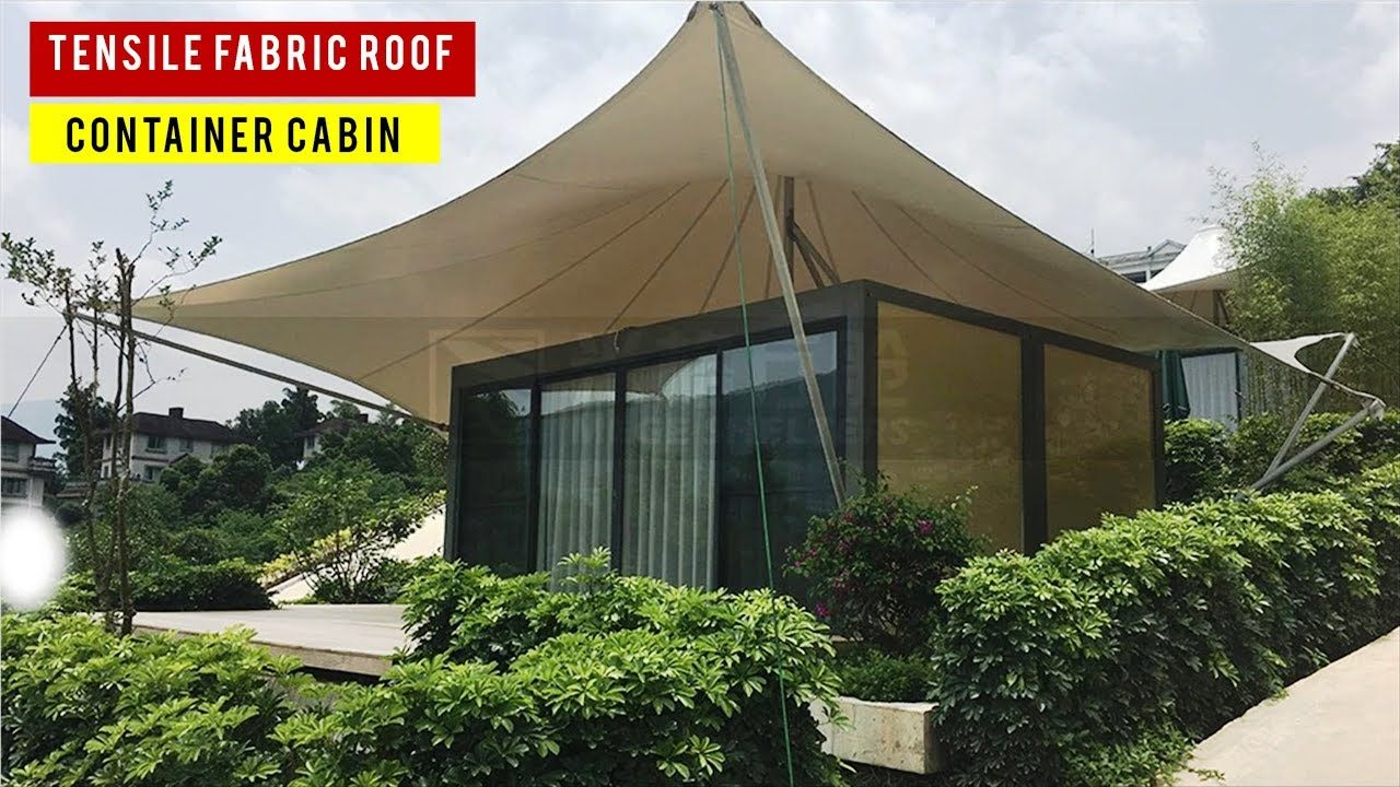 Tiny Shipping Container Cabin With Tensile Fabric Roof Youtube In 2020 Container Cabin Glass Cabin Shipping Container Cabin