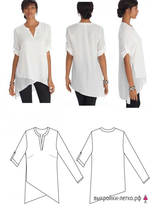 db31b505535 Выкройки блузок на разные типы фигур
