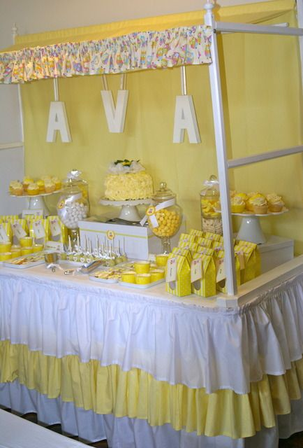 Great dessert table with canopy.....Pink and lavender for baby shower