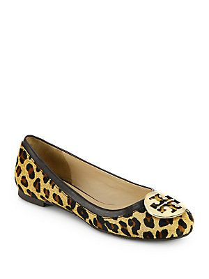 46b52b943fc1 Tory Burch Nicki Leopard-Print Calf Hair Logo Ballet Flats ...