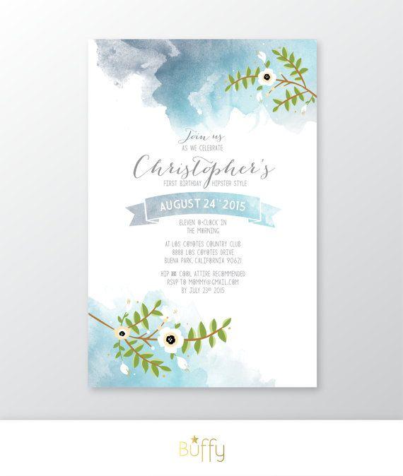 Invitation watercolor calligraphy anemone magnolia