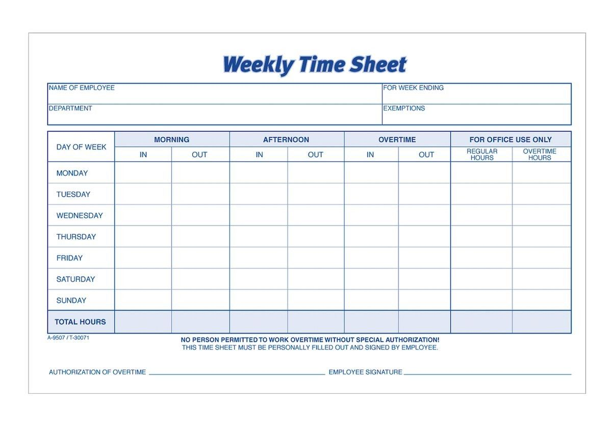 Time Sheet Weekly 2 Part Carbonless 100 St Pk Time Sheet Printable Timesheet Template Attendance Sheet Template