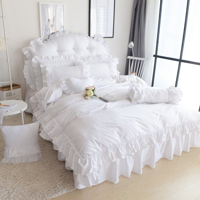 Shabby Chic White Ruffle Bedding Bedspread Bedroom Sets With
