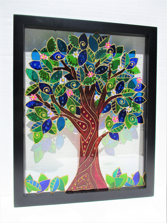 Tree Of Life Art Glass Painting Bohemian Decor Stained Glass Glass Art Wall Decor Suncatcher Original Art Framed Art Modern Art Wall Hanging Glass Painting Tree Of Life Art Glass Painting