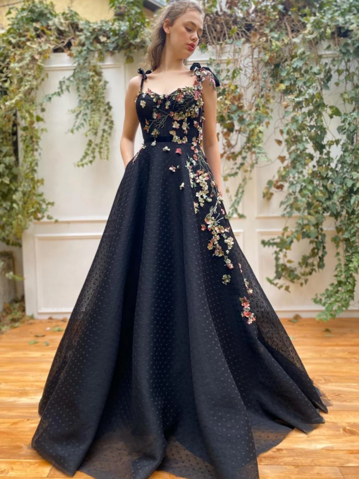 Whimsical Floral Dots Gown Details:-Pressed 3D tul