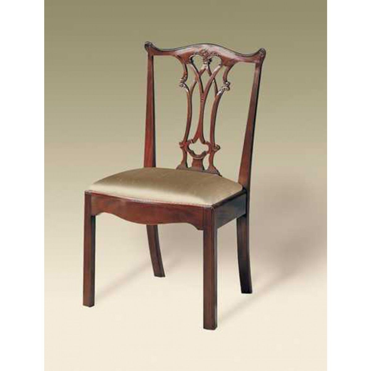 Maitland-Smith Carved Polished Mahogany Finish Chippendale Straight Leg Side Chair, Neutral Uph