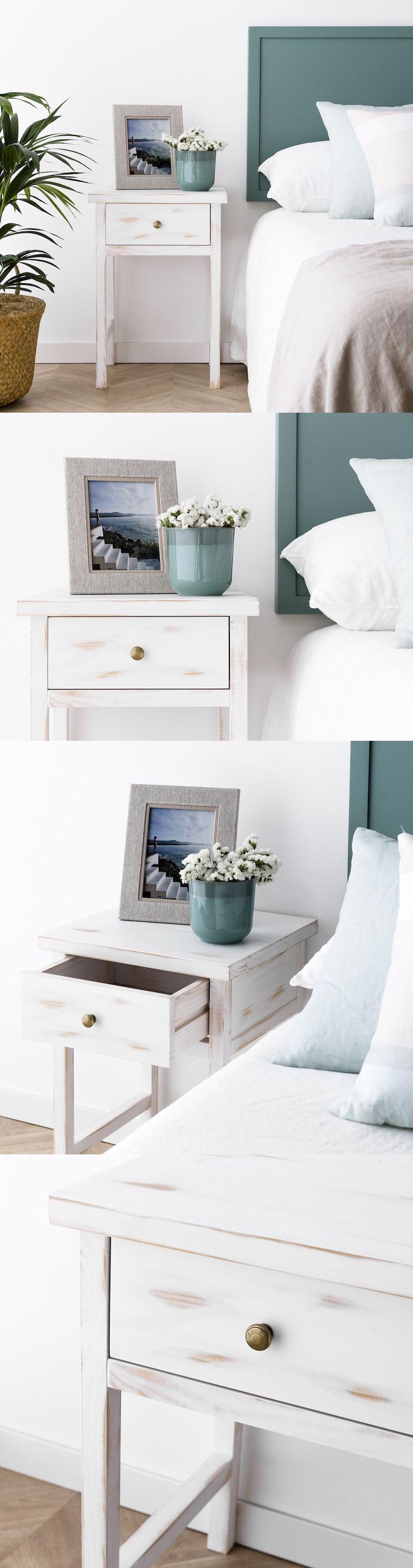 Fred mesita blanca dormitorios muebles blanco y madera - Dormitorios en blanco y madera ...