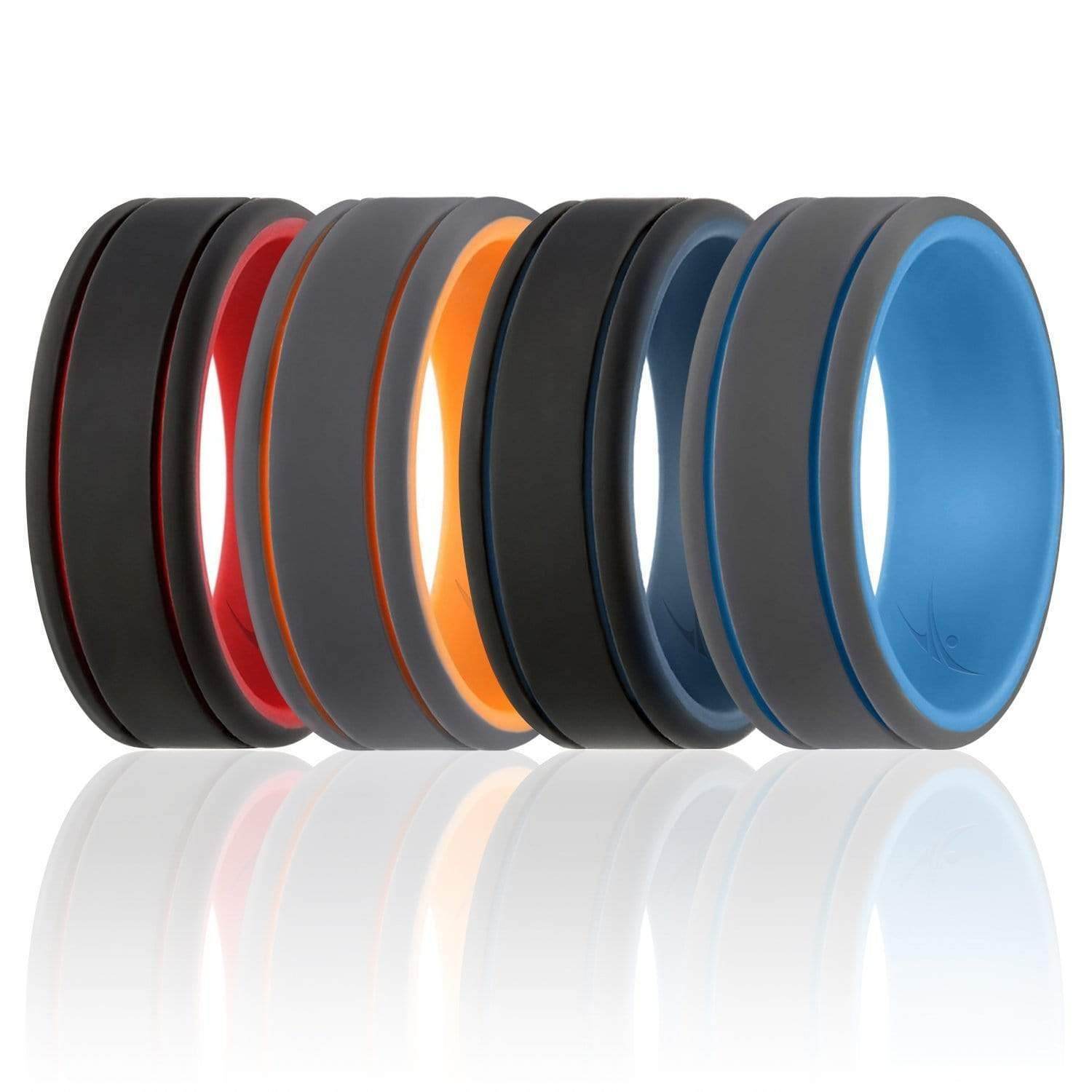 4 Pack Silicone Ring For Men Duo Collection 2 Thin Lines In 2020 Rubber Wedding Band Mens Wedding Rings Silicone Wedding Rings