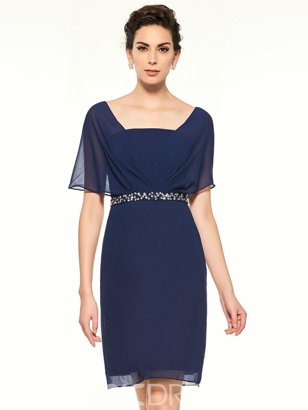 Square neckline beaded short sleeves sheath knee length mother of