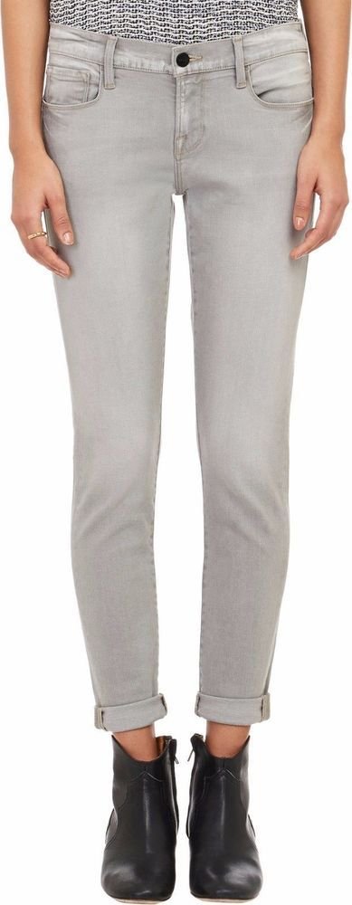 FRAME DENIM Le Garcon Mid Rise Relaxed Boyfriend Jeans Kensington Grey $230 #FRAME #BoyfriendRelaxed