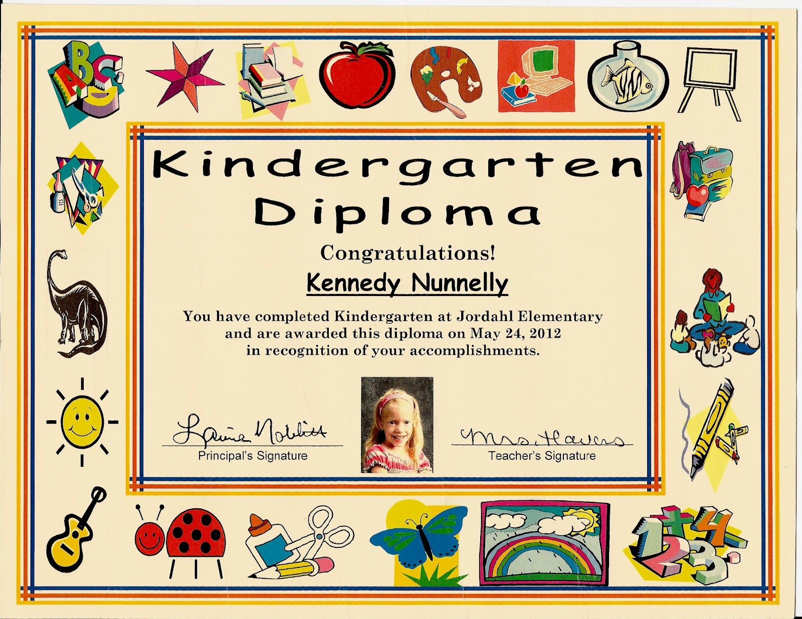 Kindergarten graduation certificate of 1 certificate pre for Pre k award certificate templates