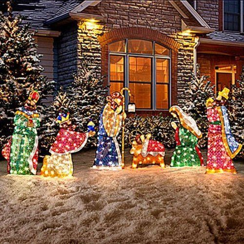 Set Of 6 Lighted Holy Family Wisemen Shimmering Nativity Scene Set Sequin Tinsel In 2020 Christmas Yard Decorations Outdoor Christmas Decorations Christmas Yard Art