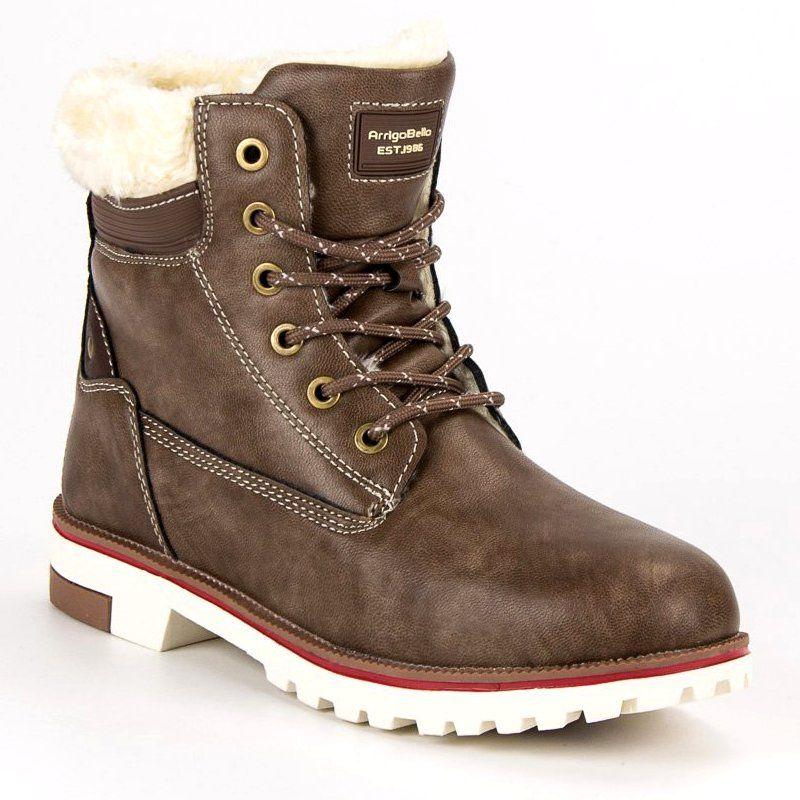 Botki Damskie Arrigobello Arrigo Bello Brazowe Cieple Zimowe Traperki Boot Shoes Women Winter Trousers Boots