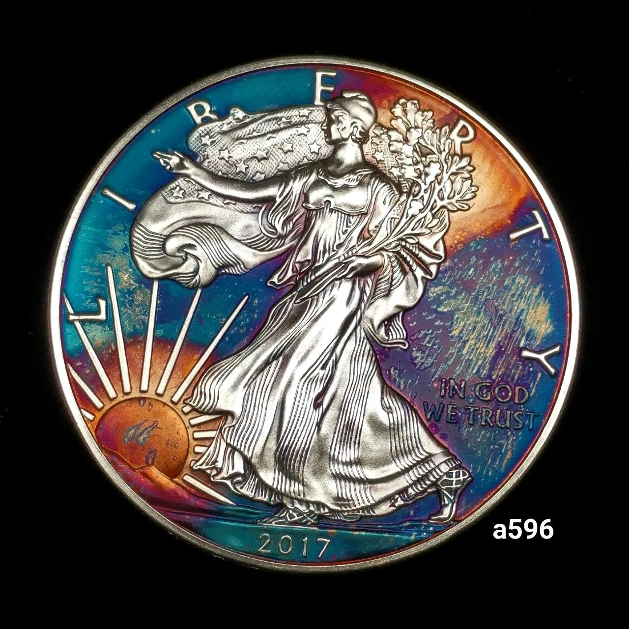 Pin On Rainbow Toned Silver Coins