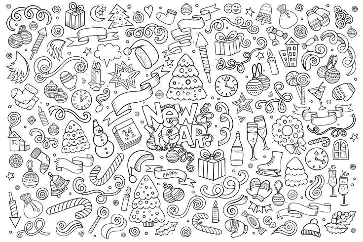 free coloring page coloring doodle happy new year by balabolka doodle drawing