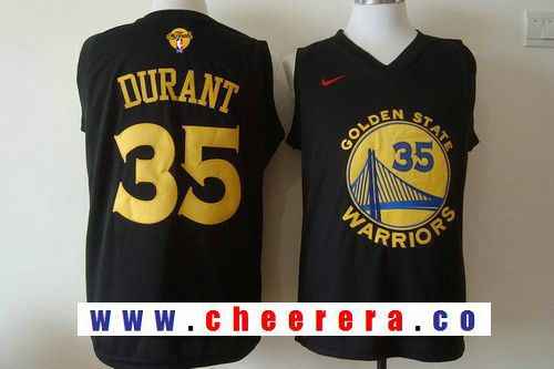 Men s Golden State Warriors  35 Kevin Durant Black With Yellow Fashion  Stitched Nike 2017 The NBA Finals Patch Jersey f3ea2eac5