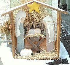 Outdoor Wood Nativity Set