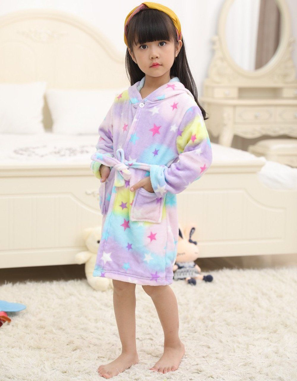 Lantop Kids Soft Bathrobe Comfy Unicorn Flannel Robe Unisex Hooded Gift All  Seasons Sleepwear     Click on the picture for additional information. 8a9f92b4e