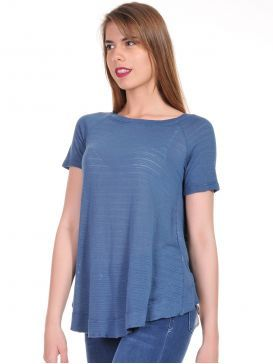90405085b412 ATTRATTIVO Γυναικεία μπλέ indigo κοντομάνικη πλεκτή μπλούζα