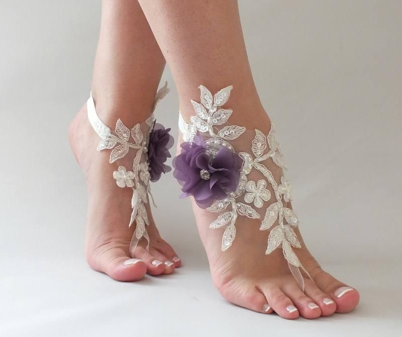 1917653af1be Ivory Purple Flowers Lace Barefoot Sandals Wedding Barefoot beach wedding  barefoot sandals Nude shoes