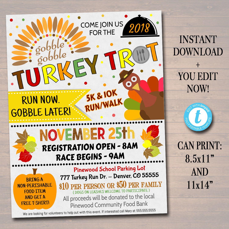 Editable Turkey Trot Flyer Poster Printable Fall Invitation Community Thanksgiving Event Charity Fundraiser Autumn Run 5k 10k Race Flyer In 2020 Autumn Invitations Charity Fundraising Turkey Trot