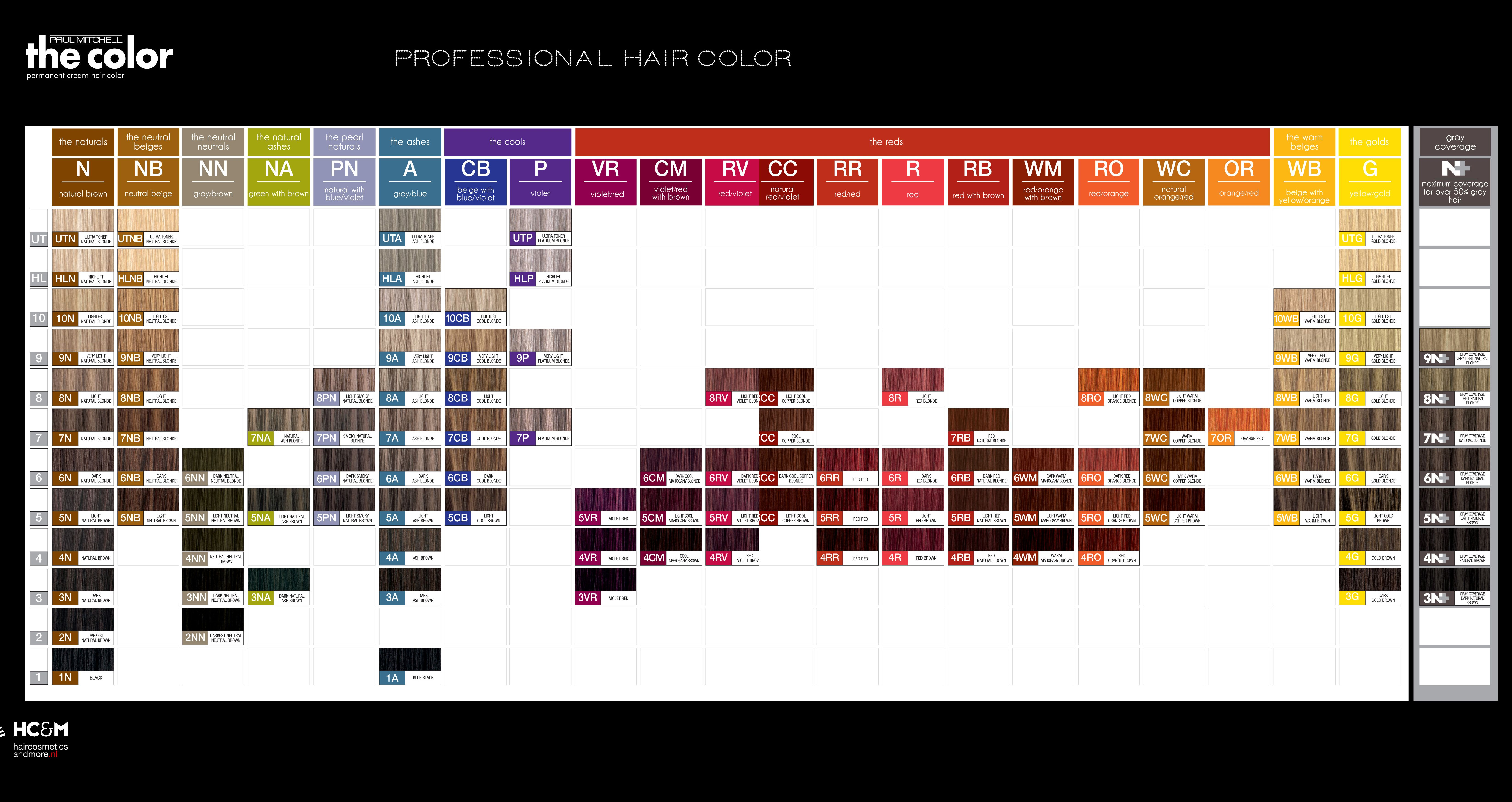 paul mitchell the color professional hair color swatch