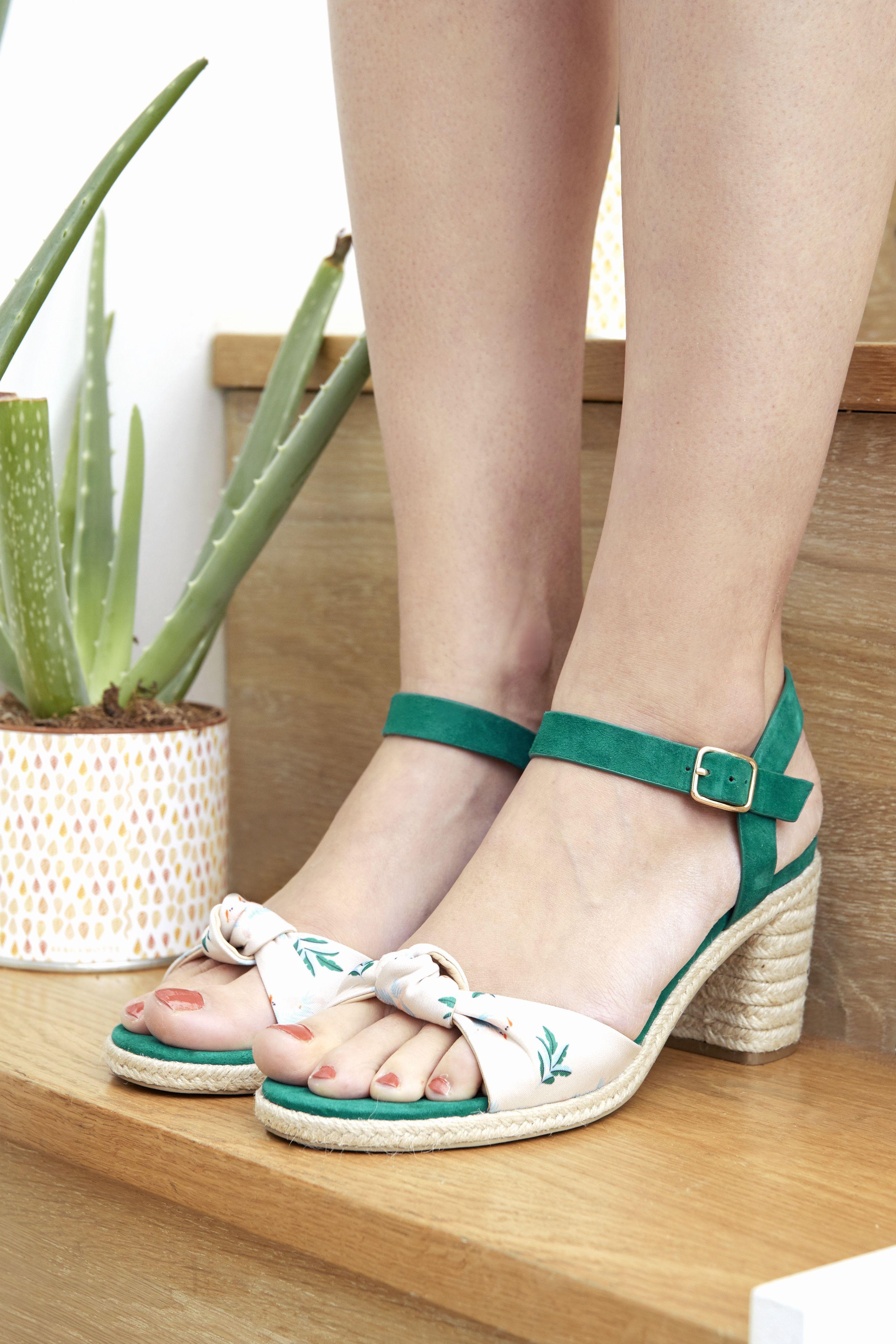 Imprimé En Tissu Season Sandale Cuir Création Vert Et Paper Velours yvIY76gbf