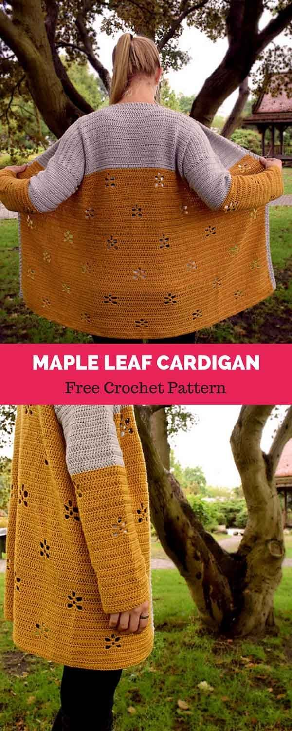 Maple Leaf Cardigan [ Free Crochet Pattern Maple Leaf cardigan [ FREE CROCHET PATTERN Woman Knitwear and Sweaters 3 square woman free knit sweater pattern
