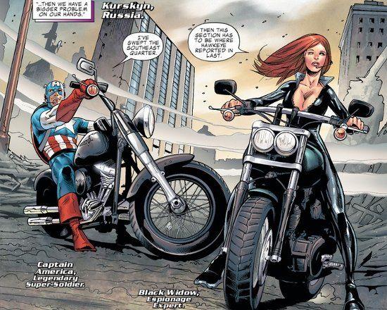c5cd94fd5a0 Captain America on a Fat Boy   Black Widow on a Fat Bob ...