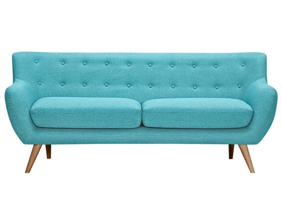 Canapé Places En Tissu SERTI Bleu Turquoise Avec Boutons Déco - Canapé 3 places pour deco design