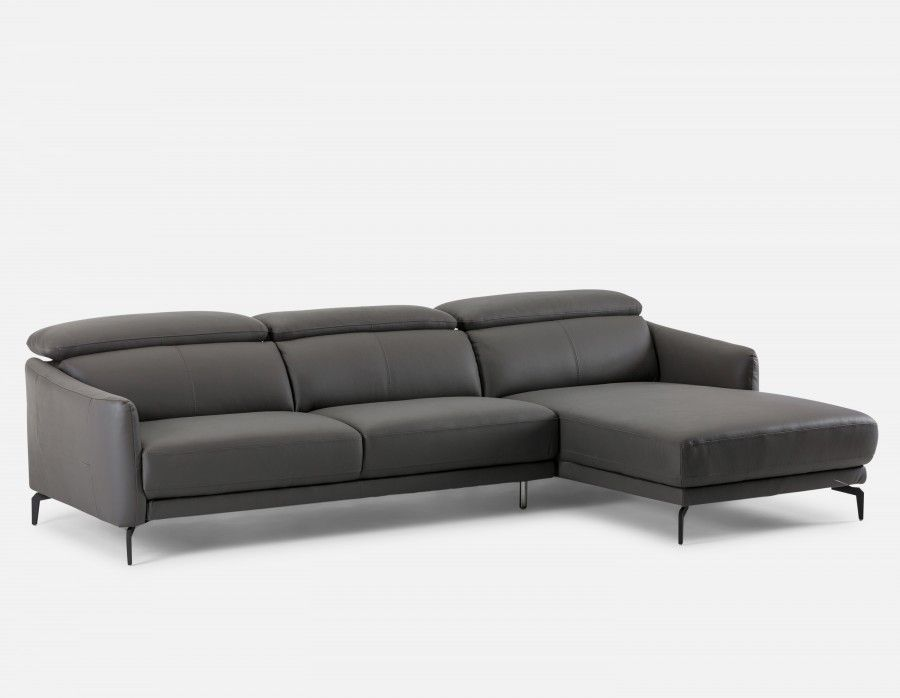 Bruge Leather Sectional Sofa Right Grey Structube Grey Leather 1849 On Sale Modern Sofa Sectional Leather Sectional Sofas Leather Sectional