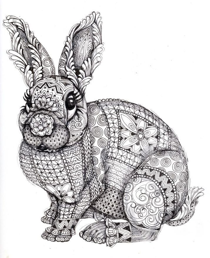 Zentangle Rabbit Coloring Page Printable Coloring Books
