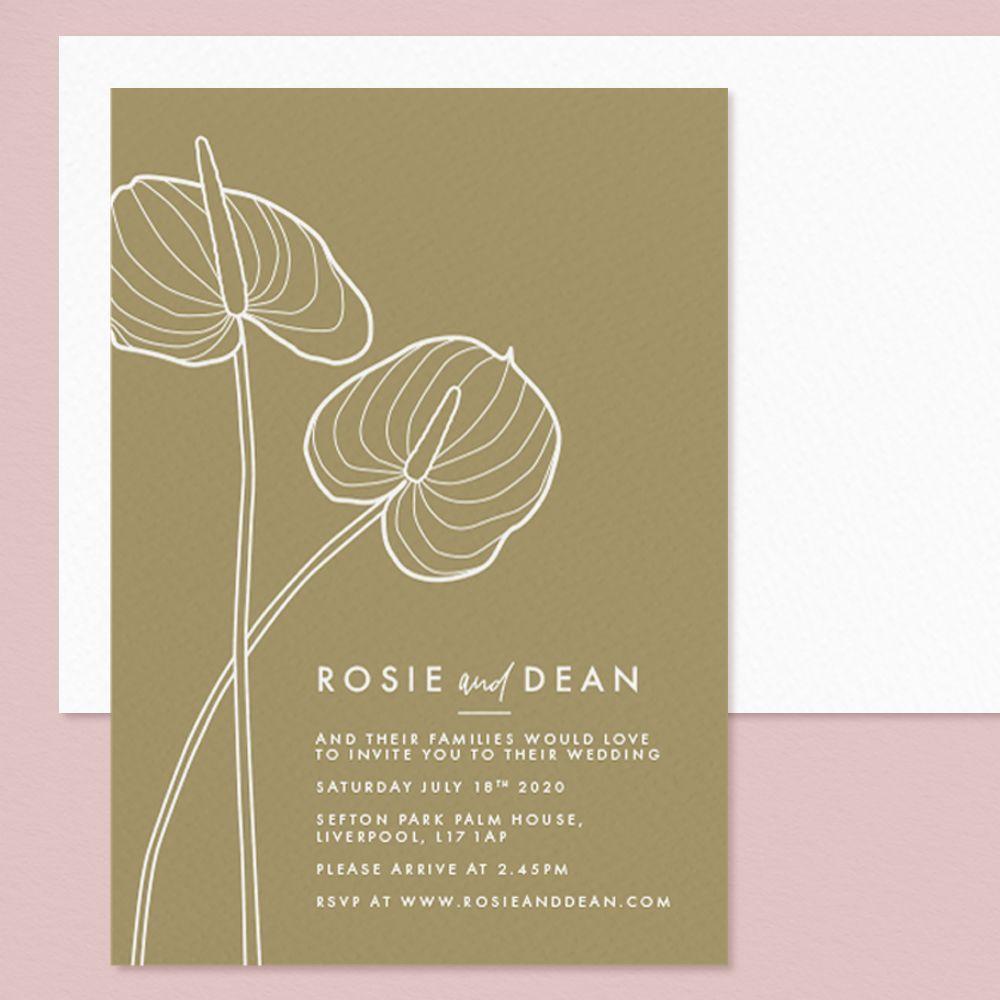 Anthurium line drawing modern Letterpress wedding invitation by Rose Paper Scissors
