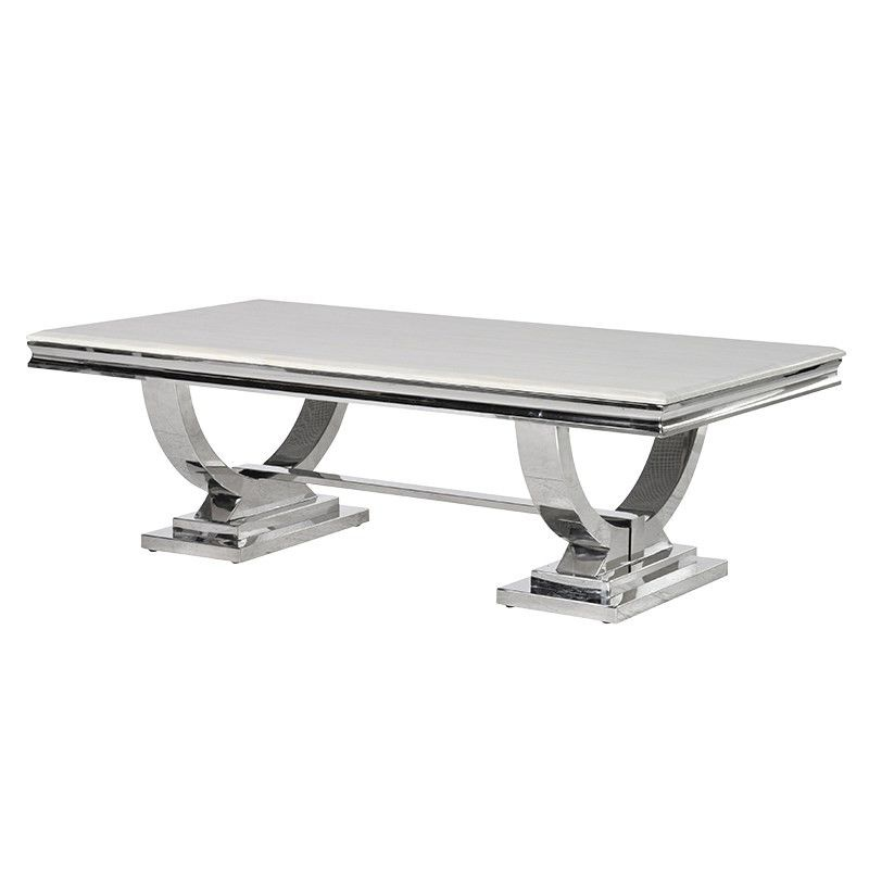 Cream Marble and Chrome U Shaped Coffee Table